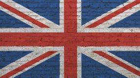 Old vintage UK British flag over brick wall Stock Photo