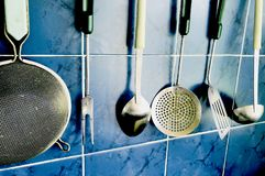 Old vintage used kitchenware close up perspective concept. Cooking delicious Stock Photography