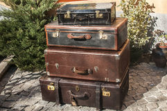 Old vintage used leather suitcases Royalty Free Stock Image