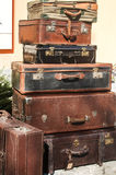 Old vintage used leather suitcases Stock Photo
