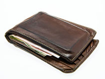 Old vintage used leather wallet Royalty Free Stock Photo