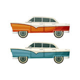 Old vintage vector toys two cars. On the white background Stock Photos