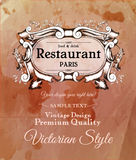Old vintage victorian label for  menu of Royalty Free Stock Photography