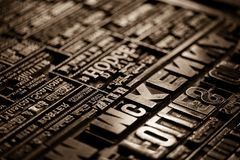 Old Vintage Victorian Newspaper Book Printing Press Background Royalty Free Stock Photo