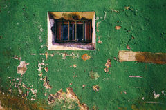Old vintage wall with broken window Royalty Free Stock Images