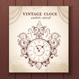 Old vintage wall clock card Stock Photography