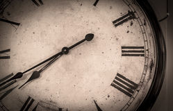 Old vintage wall clock detail. In black and white stock images