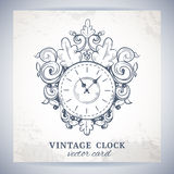 Old vintage wall clock postcard Stock Photos