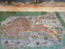 Old Map of Venice, Italy. Old vintage wall painting map of the port city of Venezia, Italia. Done in the late XV century royalty free stock photography