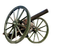 Old vintage war cannon. On a white backround Stock Photography