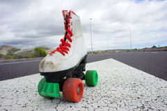 Old Vintage White Skate Boot Stock Images