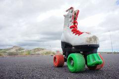 Old Vintage White Skate Boot Royalty Free Stock Photo