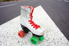 Old Vintage White Skate Boot Royalty Free Stock Images
