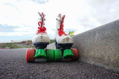 Old Vintage White Skate Boot Royalty Free Stock Photography