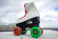 Old Vintage White Skate Boot Stock Images