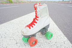 Old Vintage White Skate Boot Stock Photo