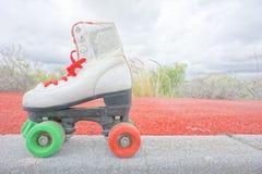 Old Vintage White Skate Boot Royalty Free Stock Photos