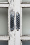 Old vintage window. Old window, peeling painted white from old paint Royalty Free Stock Images
