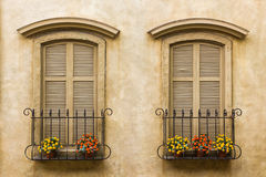 Old vintage window. Old vintage window on yellow wall with flowerpot Stock Photo