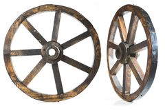 Old vintage wood wheel on white Royalty Free Stock Image