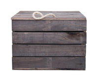 Old vintage wooden box crate isolated on white with clipping pat royalty free stock photography