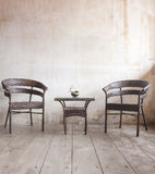 Old vintage wooden chair and table Stock Photography