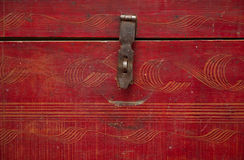 Old vintage wooden chest. Isolated over white Stock Images