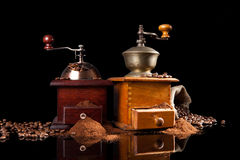 Old vintage wooden coffee mill. Stock Image