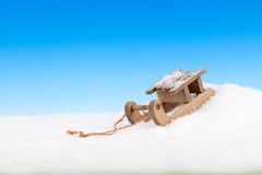 Old vintage wooden sled Stock Photos
