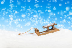 Old vintage wooden sled Stock Photo