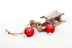 Old vintage wooden sled Stock Image