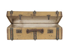 Old vintage wooden suitcase, isolated on white Stock Image