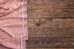 Old vintage wooden table and tablecloth with lace. Top view mockup. Stock Photo