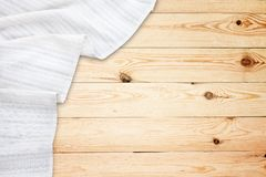 Old vintage wooden table with white tablecloth. Top view mockup. Old vintage wooden table with white tablecloth. Top view mock up royalty free stock photo