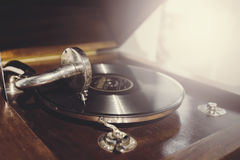 Old vintage wooden vinyl player Royalty Free Stock Photo