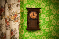 Old vintage wooden wall clock Royalty Free Stock Photo