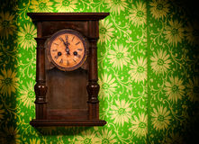 Old vintage wooden wall clock Royalty Free Stock Photography