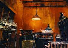 Old vintage workspace. In orange room,digital painting Royalty Free Stock Images