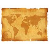 Old vintage world map. Ancient manuscript. Grunge paper texture. Stock Photo