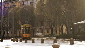 Old vintage yellow tram №1881  ATM Class 1500 on the street of Milan, Italy . 502 cars were made in. MILAN, ITALY- MARCH 22, 2016: Old vintage yellow tram № stock video
