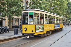 Old vintage yellow tram Royalty Free Stock Images