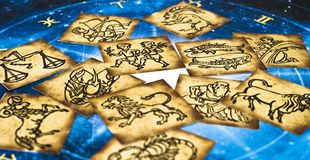 Old vintage zodiac cards with horoscope like astrology concept. Old vintage zodiac signs lying on horoscope like astrology magic, mystical, esoteric concept in stock photo