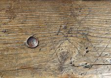 Old Vintagewood Wooden Surface Backgroundwith Steel Metal Bolt Screw Royalty Free Stock Image