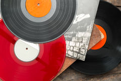 Old vinyl long play records Royalty Free Stock Photo