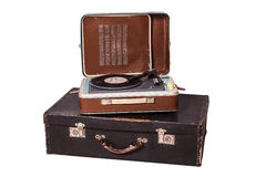 Old vinyl player on an old suitcase Stock Photo