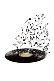 Old vinyl record and flying musical notes. Royalty Free Stock Photo