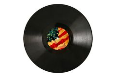 Old Vinyl record with label of vintage USA flag Royalty Free Stock Photo