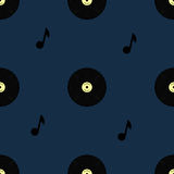 Old vinyl record seamless pattern Stock Photography