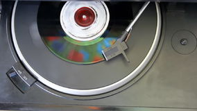 Old vinyl record. Vintage vinyl record on turntable player stock video footage