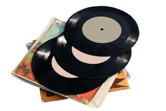 Old vinyl records. On white background Royalty Free Stock Image